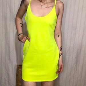 GUC Revamped Highlighter Yellow Fitted Dress L/G